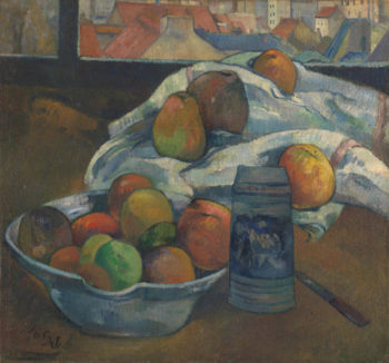 Bowl of Fruit and Tankard before a Window | Paul Gauguin | oil painting