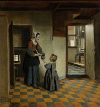 Woman with a Child in a Pantry. ca. 1656 - ca. 1660 | Pieter de Hooch | oil painting