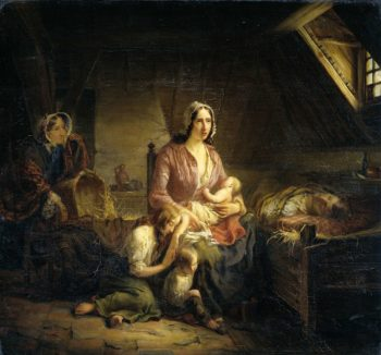 A rich lady visiting a poor family. 1853 | Gerardus Terlaak | oil painting