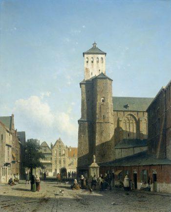 The church of St Denis in Li?ge. 1850 - 1860 | Jan Weissenbruch | oil painting