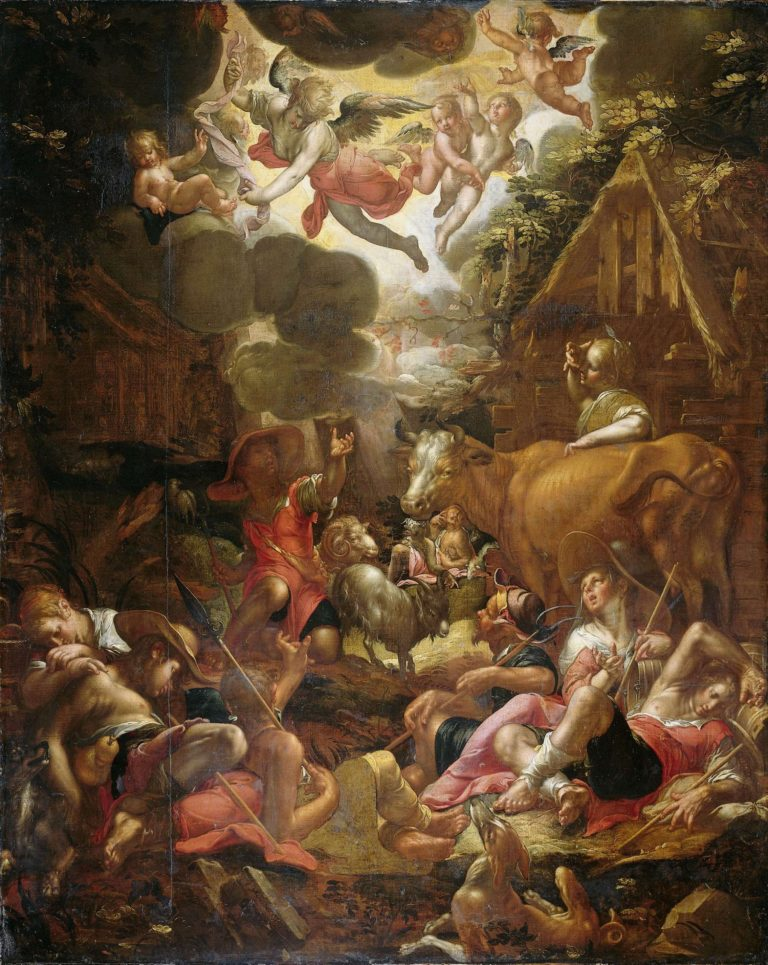 The proclamation to the shepherds. 1595 - 1603 | Joachim Wtewael | oil painting