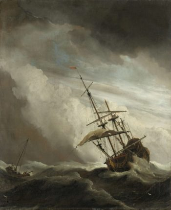 A Ship on the High Seas Caught by a Squall