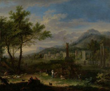 Arcadian Landscape with Fishermen. ca. 1700 - ca. 1749 | Jan van Huysum | oil painting