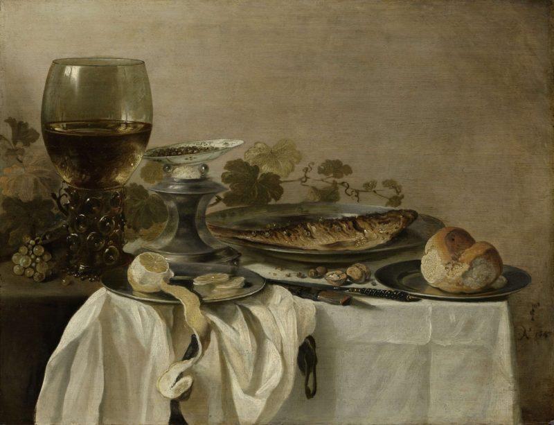 Still life with fish. 1647   Pieter Claesz.   oil painting