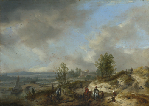 A Dune Landscape with a River and Many Figures | Philips Wouwermans | oil painting
