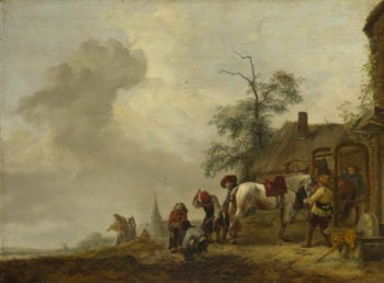 A Horse being Shod outside a Village Smithy | Philips Wouwermans | oil painting