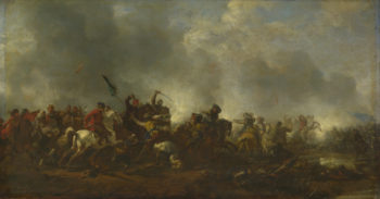 Cavalry attacking Infantry | Philips Wouwermans | oil painting