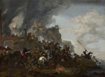 Cavalry making a Sortie from a Fort on a Hill | Philips Wouwermans | oil painting