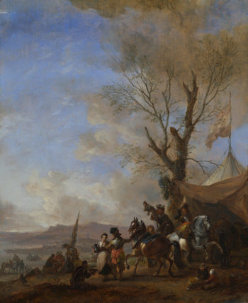 Cavalrymen halted at a Sutler's Booth | Philips Wouwermans | oil painting