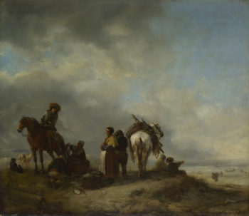 Seashore with Fishwives offering Fish | Philips Wouwermans | oil painting