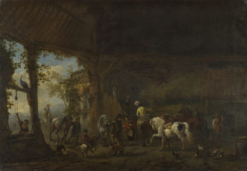 The Interior of a Stable | Philips Wouwermans | oil painting
