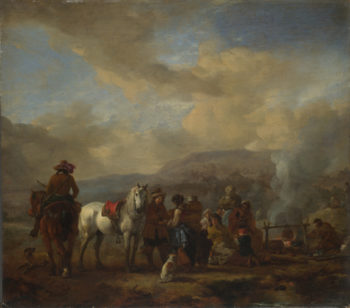 Two Horsemen at a Gipsy Encampment | Philips Wouwermans | oil painting