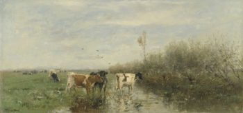 Cows in a marsh land. 1860 - 1900 | Willem Maris | oil painting