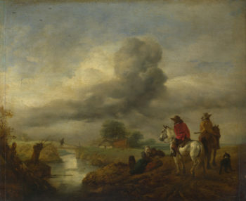 Two Vedettes on the Watch by a Stream | Philips Wouwermans | oil painting