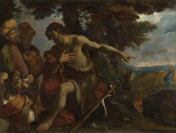 Saint John the Baptist preaching in the Wilderness | Pier Francesco Mola | oil painting