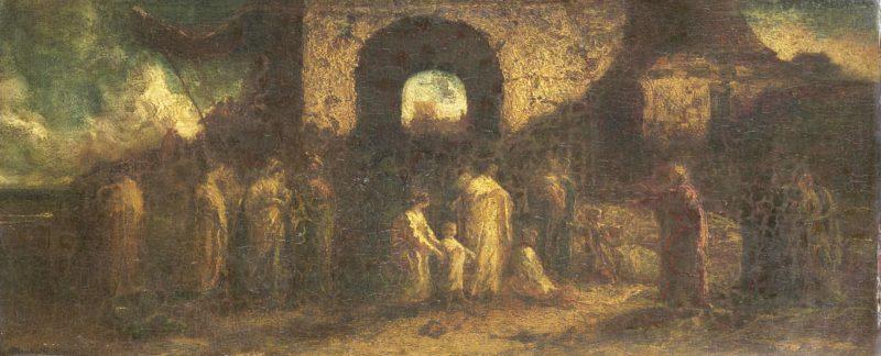 Christ blesses the children. 1870 - 1886   Adolphe Joseph Thomas Monticelli   oil painting