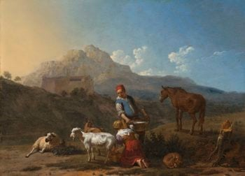Italian Landscape with Girl Milking a Goat. 1652 | Karel Dujardin | oil painting