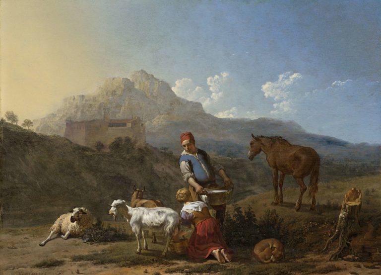 Italian Landscape with Girl Milking a Goat. 1652 | Karel Dujardin | oil painting