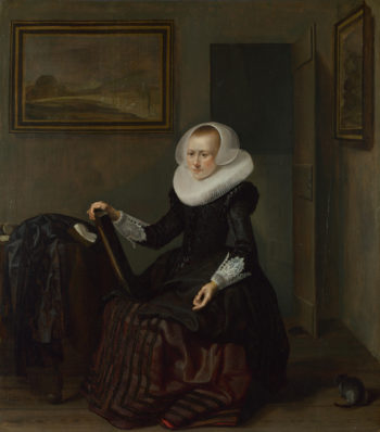 A Woman holding a Mirror | Pieter Codde | oil painting