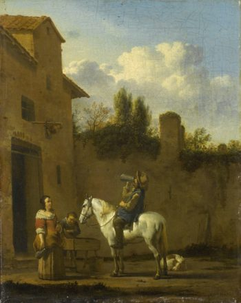 Drinking Trumpeter on horseback. 1650 - 1660 | Karel Dujardin | oil painting
