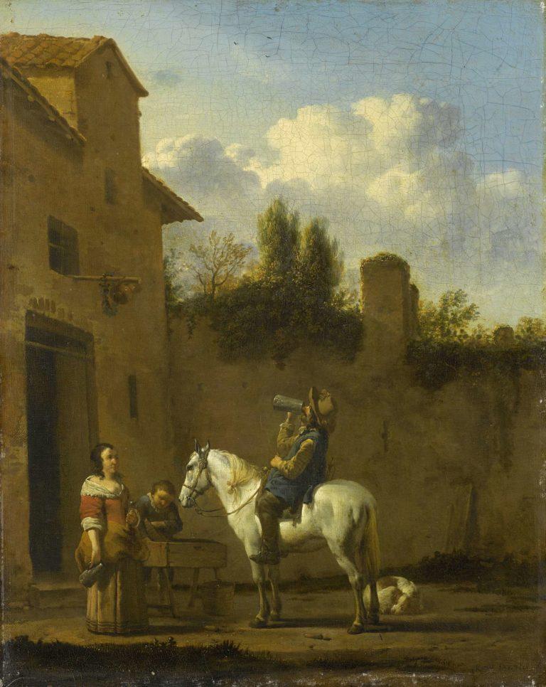 Drinking Trumpeter on horseback. 1650 - 1660 | Karel Dujardin | oil painting