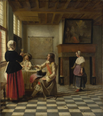 A Woman Drinking with Two Men | Pieter de Hooch | oil painting