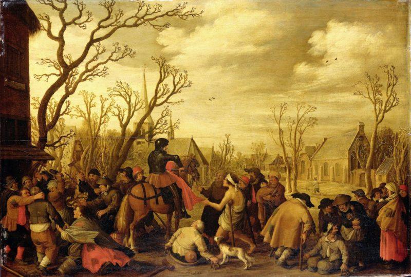 Sint Maarten cutting a piece of his coat to give to a beggar. 1623   Joost Cornelisz. Droochsloot   oil painting