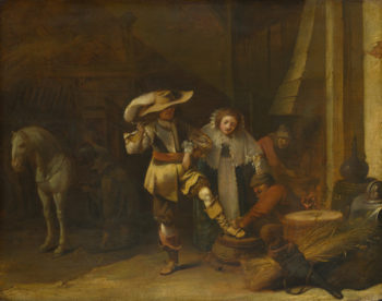 A Man and a Woman in a Stableyard | Pieter Quast | oil painting