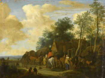 Stop at an inn. 1657   Pieter de Molijn   oil painting