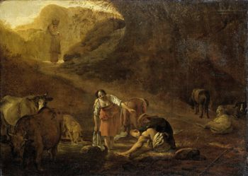 A shepherd and laundresses at source. ca. 1630 - ca. 1637 | Pieter Bodding van Laer | oil painting