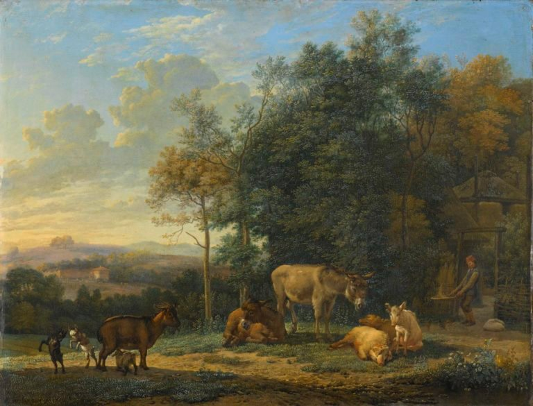 Landscape with Two Donkeys