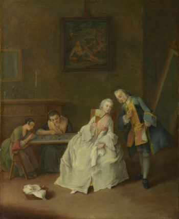 A Lady receiving a Cavalier | Pietro Longhi | oil painting