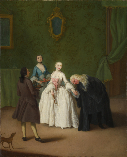 A Nobleman kissing a Lady's Hand | Pietro Longhi | oil painting
