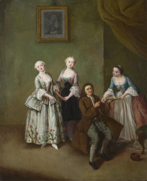 An Interior with Three Women and a Seated Man | Pietro Longhi | oil painting