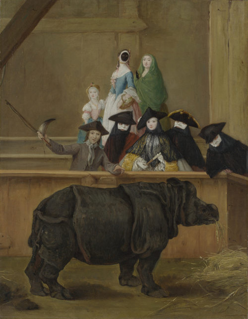 Exhibition of a Rhinoceros at Venice | Pietro Longhi | oil painting