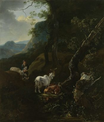 A shepherdess with cattle in a mountainous landscape. 1649 - 1673 | Adam Pijnacker | oil painting