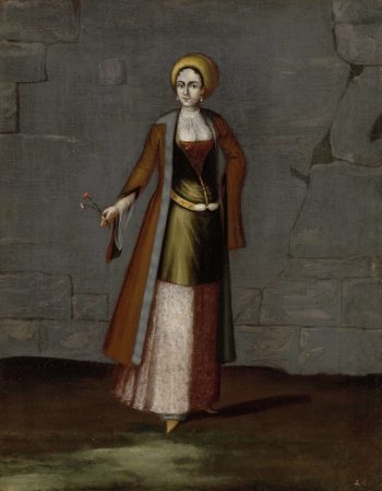 Woman of the island of Tinos. 1700 - 1737 | Jean Baptiste Vanmour | oil painting