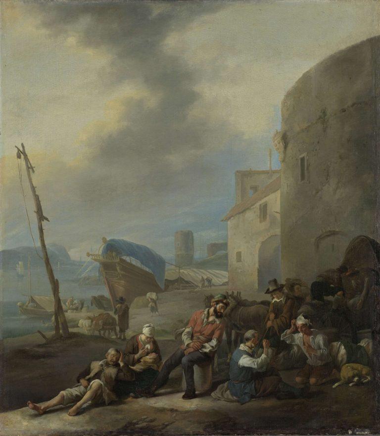 Italian port. 1650 - 1674 | Johannes Lingelbach | oil painting