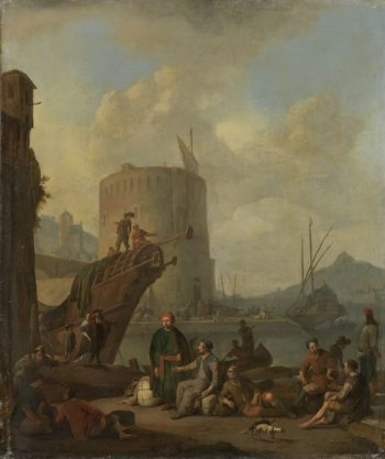 Italian harbor fortress tower. 1664 | Johannes Lingelbach | oil painting