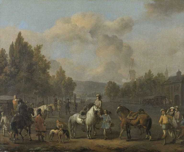 The driving school. 1650 - 1674 | Johannes Lingelbach | oil painting