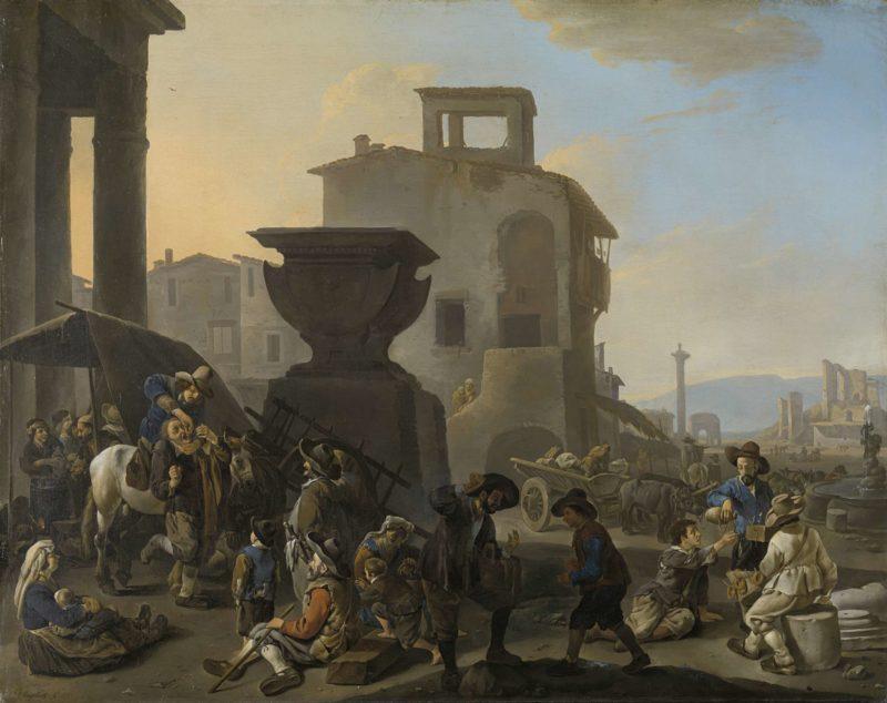 Italian Marketplace with a Quack Dentist. 1651 | Johannes Lingelbach | oil painting