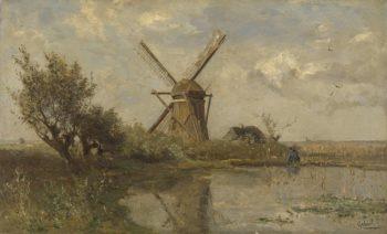 Windmill in a puddle. ca. 1860 - ca. 1903 | Paul Joseph Constantin Gabri?l | oil painting