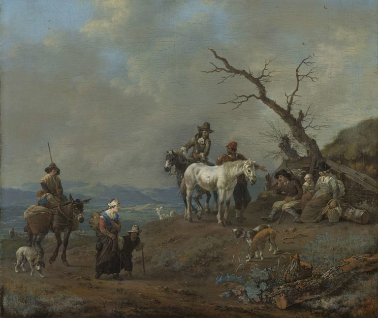 Country road with hunter and countrymen. 1650 - 1674 | Johannes Lingelbach | oil painting