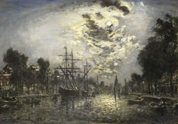 Rotterdam in the moonlight. 1881 | Johan Barthold Jongkind | oil painting