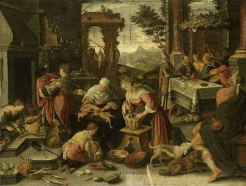 The rich man and Lazarus.. 1544 - 1700   Jacopo Bassano   oil painting