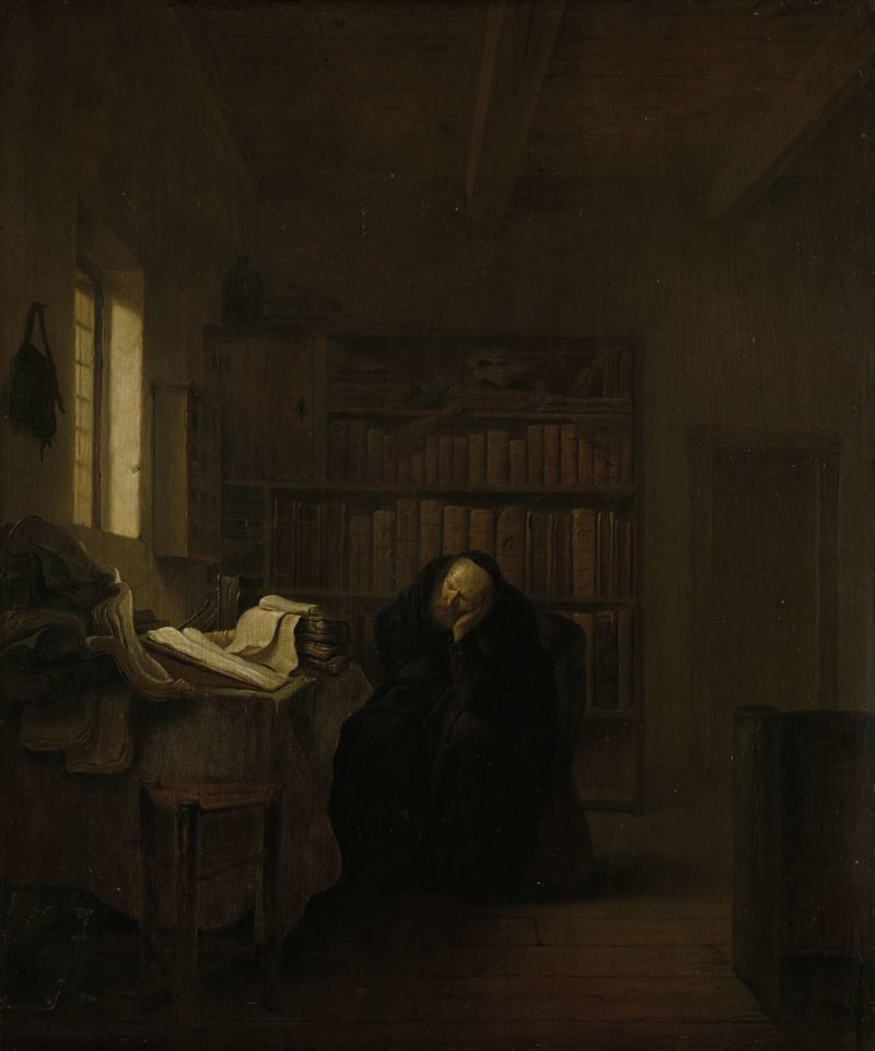 A scholar in his study. 1635 - 1656 | Salomon Koninck | oil painting