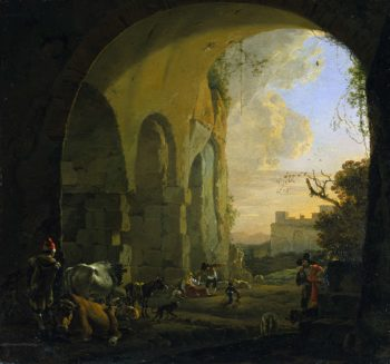 Shepherds with cattle under a vault of the Colosseum in Rome.. 1640 - 1652 | Jan Asselijn | oil painting