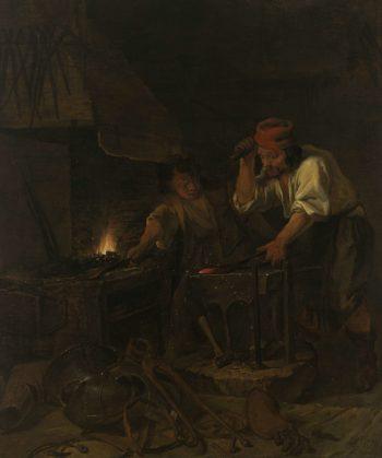 The gunsmith. 1650 - 1660   Gabri?l Metsu   oil painting