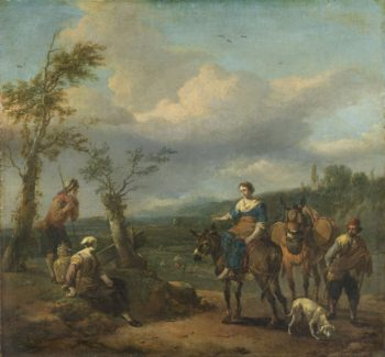 Italian landscape with figures. 1650 - 1674 | Johannes Lingelbach | oil painting