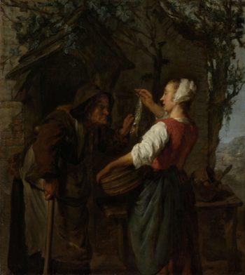 The herring sale woman. ca. 1661 - ca. 1662   Gabri?l Metsu   oil painting